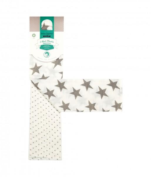 Organic-Baumwollwindel GREY STARS von Sense Organics