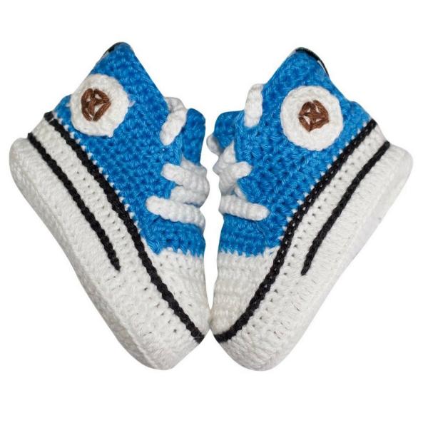 Baby-Strickschuhe von baobab für Jungen blau