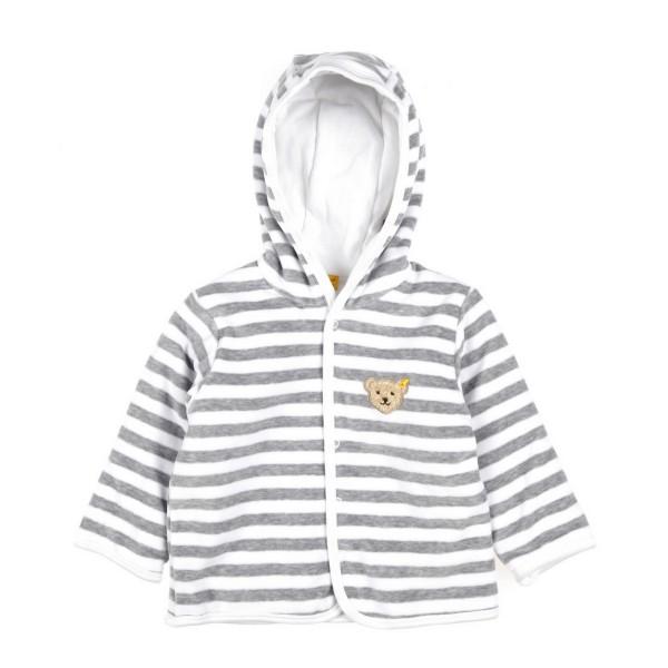 Babyjacke aus Nickistoff von Steiff in grey-weiß 2857 Unisex