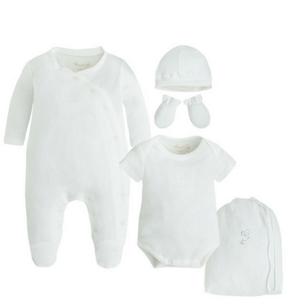 Baby-Strampler Set 5-teilig GOOD NIGHT WHITE von Mayoral