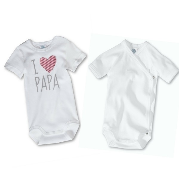 Body Set I Love Papa Sanetta weiss Vatertag