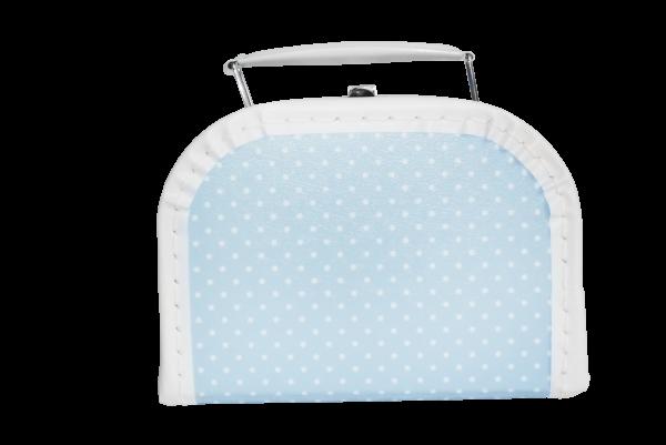 Kinderkoffer hellblau mit Pünktchen 20 cm