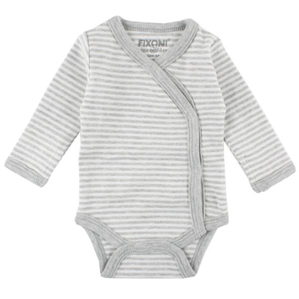 Fixoni ♥  Baby Frühchen Wickelbody, Grau-Weiß Ringel, 32721