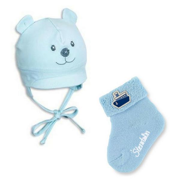Babymütze Sommer hellblau mit Söckchen von Sterntaler