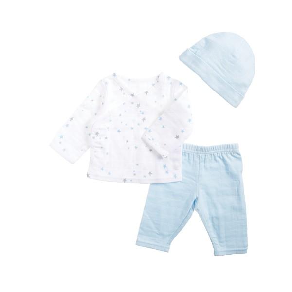"""aden + anais ♥ Newborn-Set mit Shirt, Hose und Mütze """"Night Sky Stardust"""""""