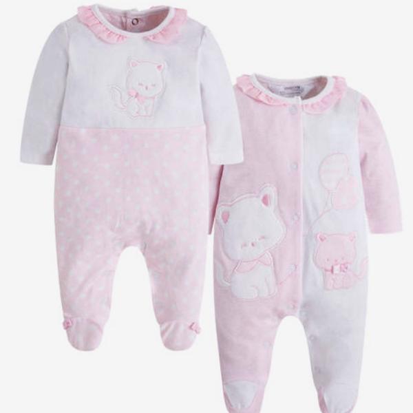 Mayoral ♥ 2er-Set Baby Mädchen Schlafanzüge ♥ Kätzchen, rosa-weiß, 1744-33
