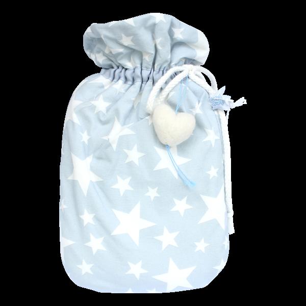 Kleine Baby-Wärmflasche mit abnehmbaren Bezug hellblau mit Sternen
