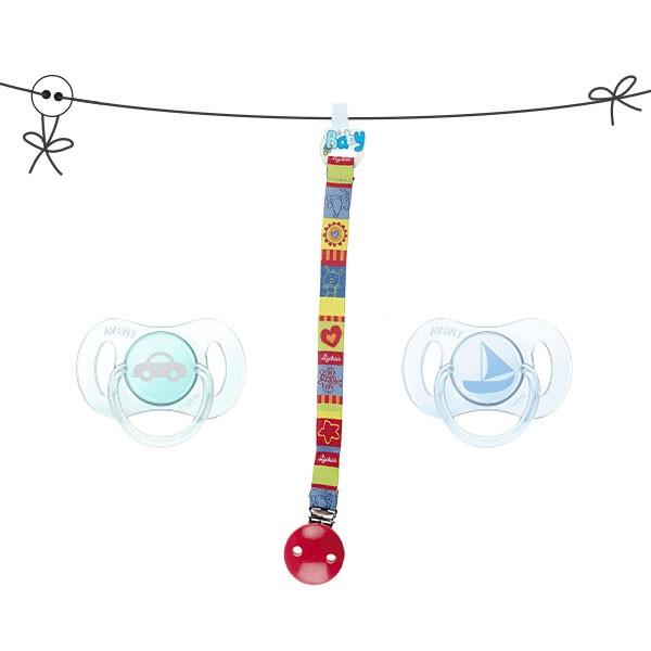 Clip-Schnullerkette GREEN STRIPS  mit Schnuller für Neugeborene