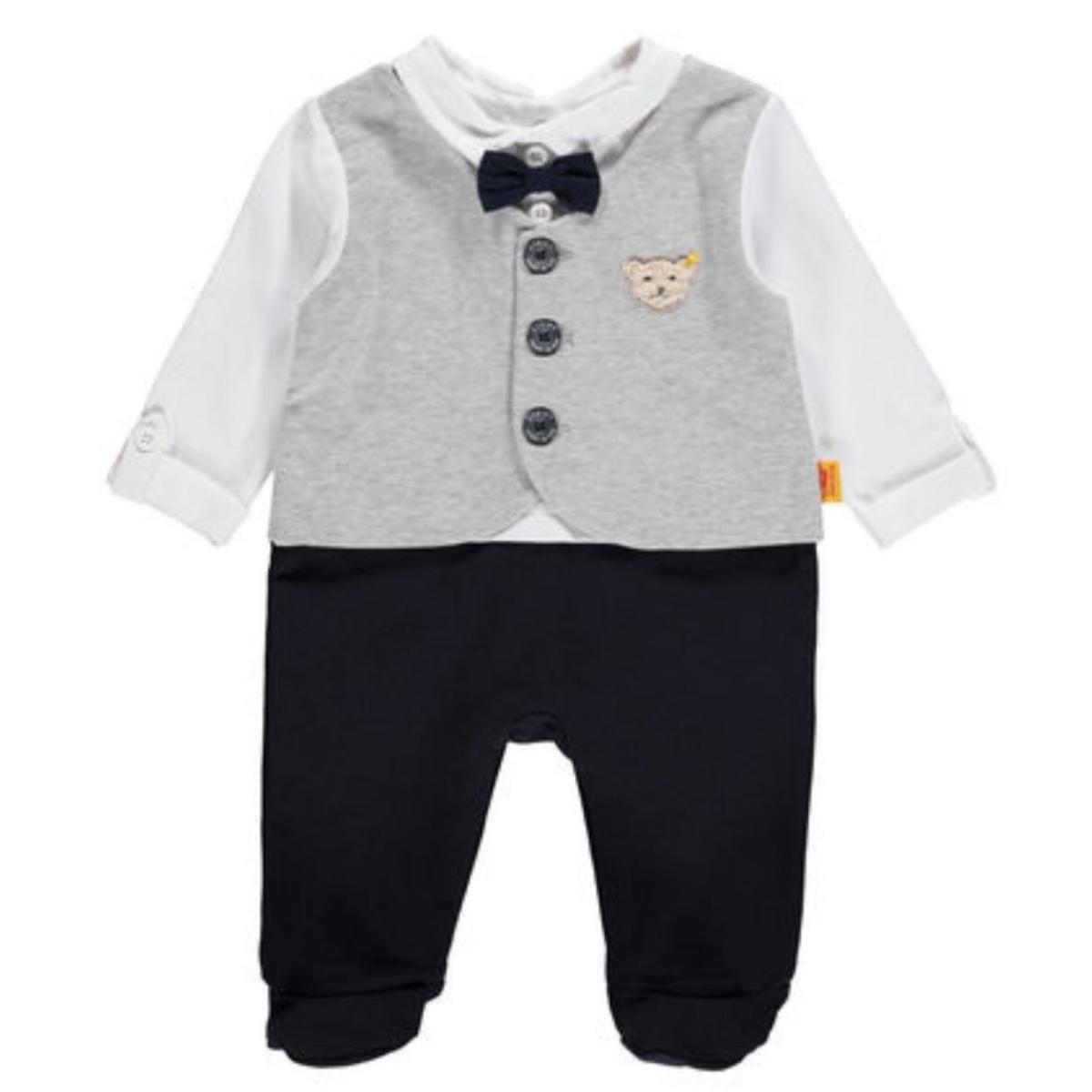 Steiff baby jungen strampler 1 1 arm special day grau blau 6842872 mybaby welcome - Festliche mode jungen ...