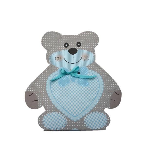 Baby-Geschenkverpackung Bärchen klein blau