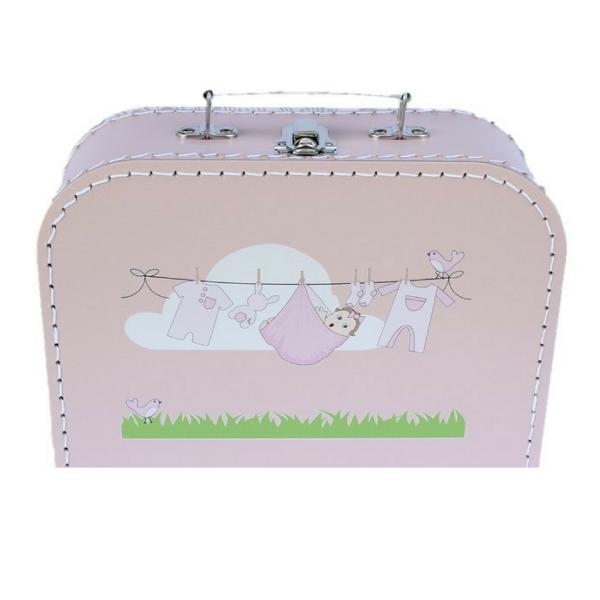 Geschenkbox Geburt rosa mit Wäscheleine