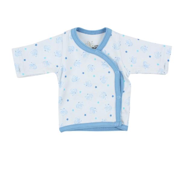 Frühchen-Wickelshirt BIENE hellblau  von Fixoni