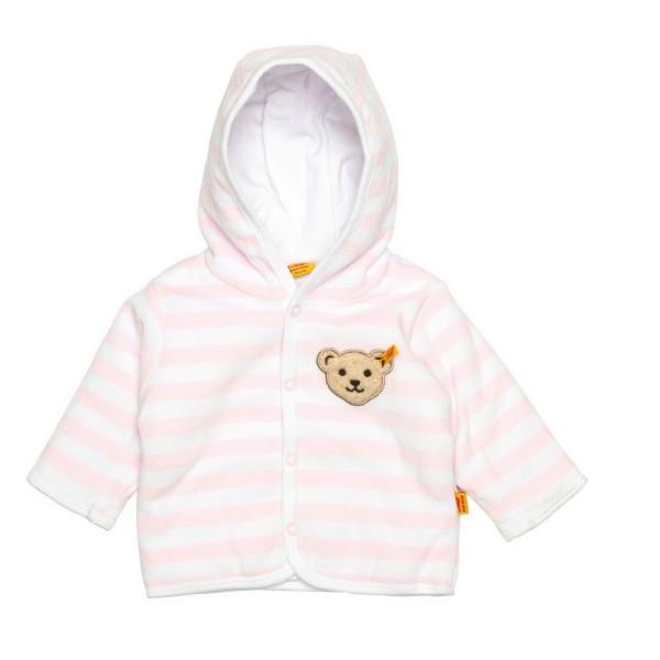 Steiff ♥ Baby Mädchen Jacke aus Nickistoff, rosa-weiß, 2857