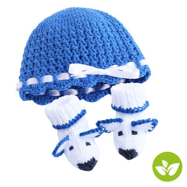 Set Frühchen Mütze & Söckchen-Gehäkelt, blau
