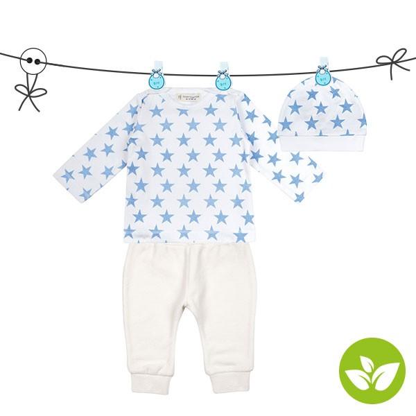 Sense Organics ♥ Baby-Shirt mit Hose und Mütze ♥ Big Stars